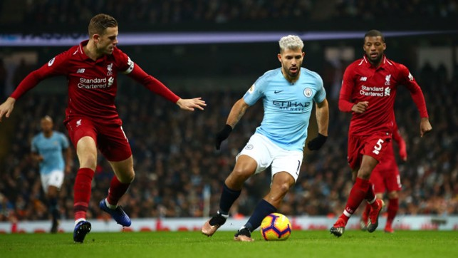 SILVER STREAK: Sergio Aguero runs at the Liverpool defence