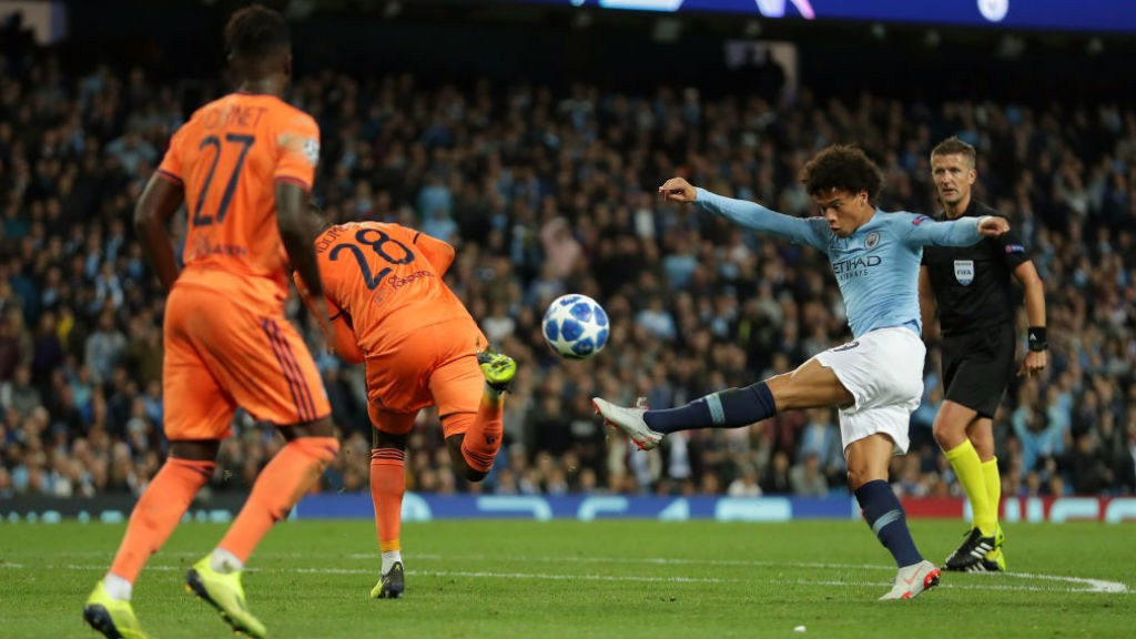 FRUSTRATION: Substitute Leroy Sane looks to power in a shot on the Lyon goal