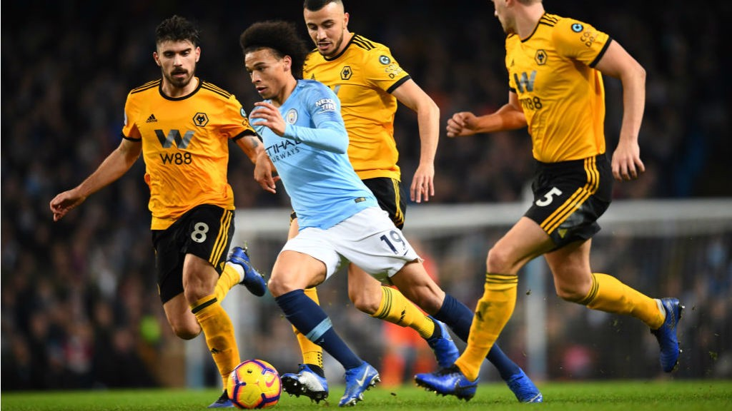 MAN ON A MISSION: Leroy Sane races through the Wolves defence