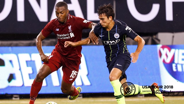 BATTLE: Eric Garcia and Daniel Sturridge battle for the ball