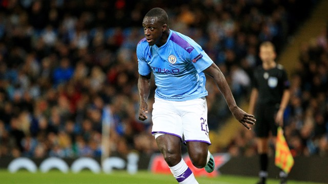 HE'S BACK: Benjamin Mendy starts his first Champions League game since returning from injury