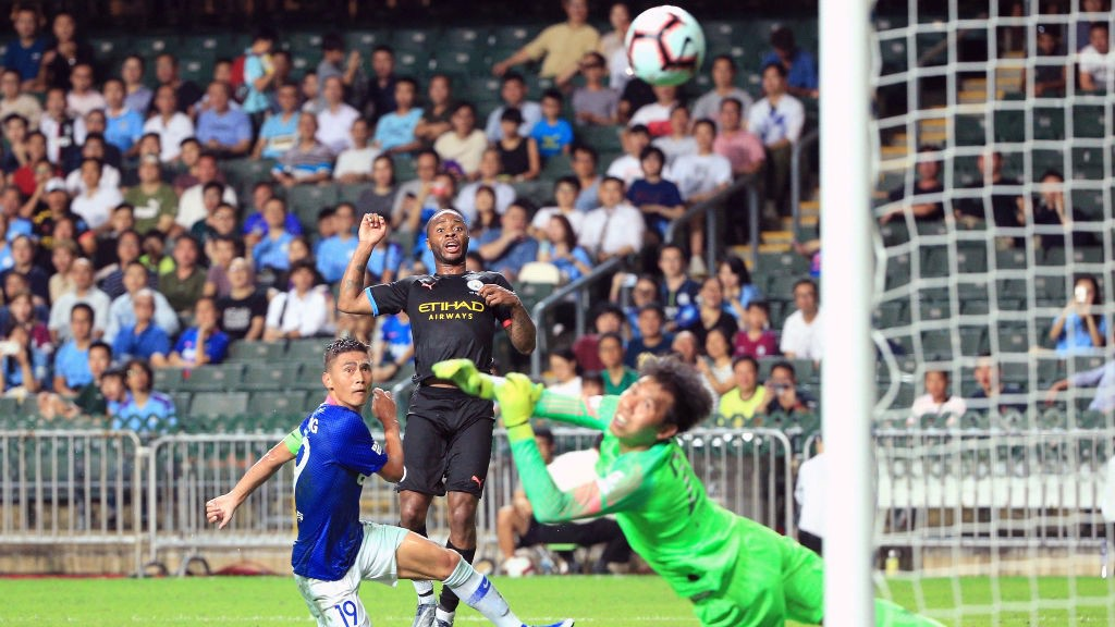 STERLING EFFORT: Raheem watches his brilliant finish curl into the net
