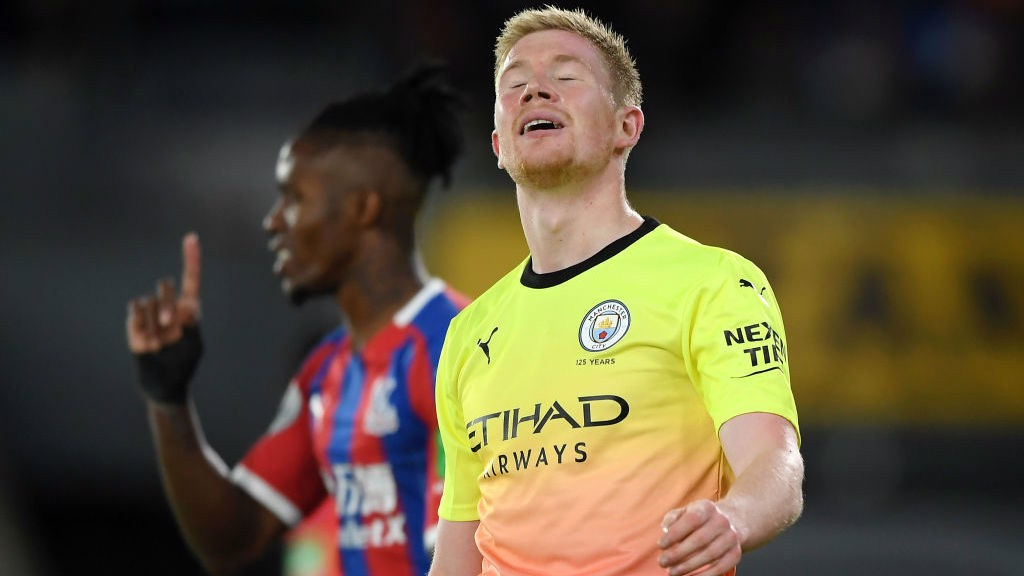 CLANG: Frustration for De Bruyne as his effort cannons off the post.
