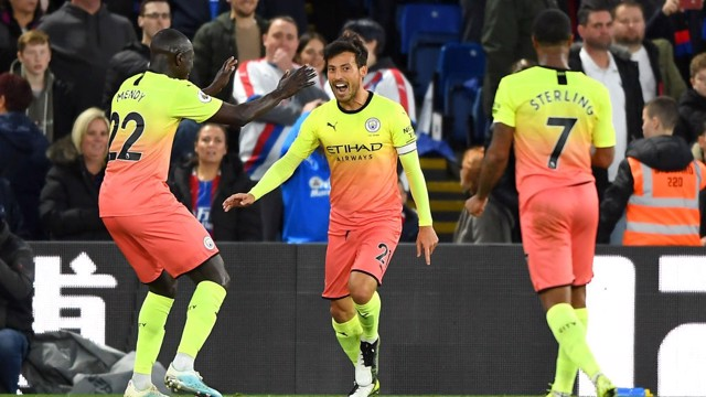 JOY: David Silva wheels away in delight.