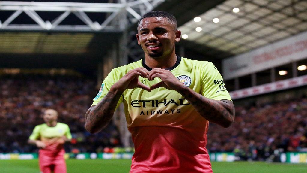 LOVELY FINISH: Gabriel Jesus celebrates after doubling our lead with an expert finish