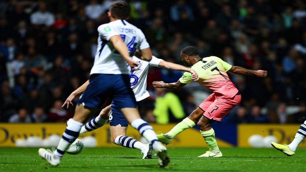 RAZZLE-DAZZLE: Sterling fires in the opener after a terrific solo run