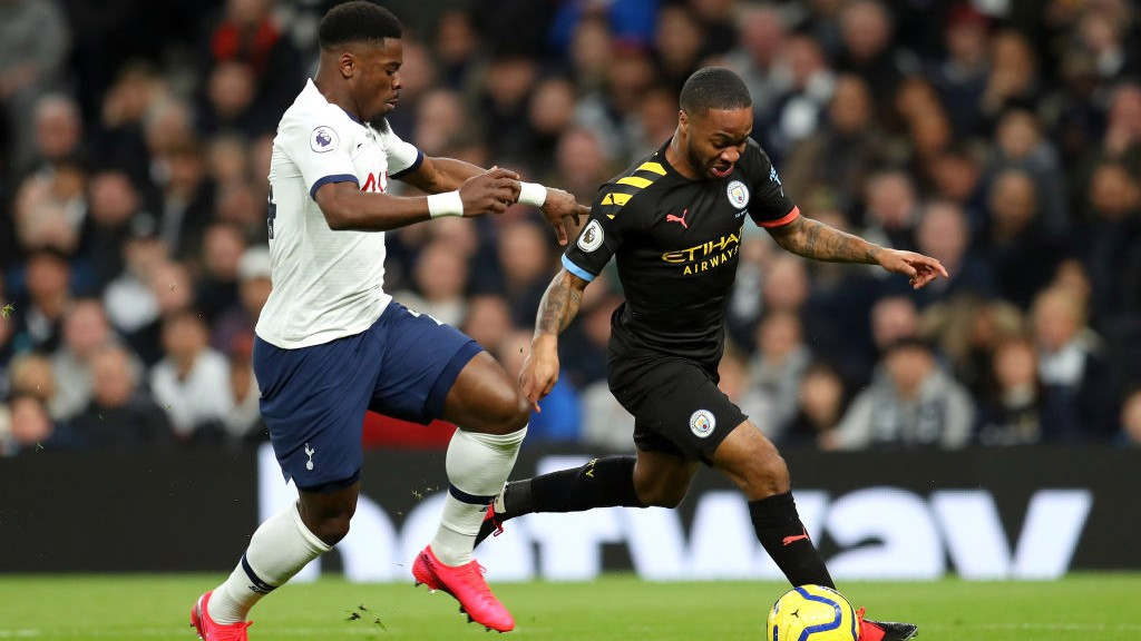 SPEEDY STERLING: Our winger looks to get away from Aurier.