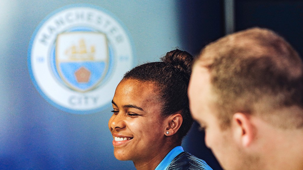 PRESS CONFERENCE: Nikita Parris addresses the media, ahead of the game...