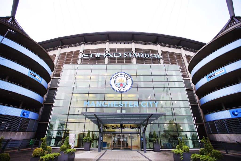 The all new Manchester City badge is on display at the Etihad Stadium