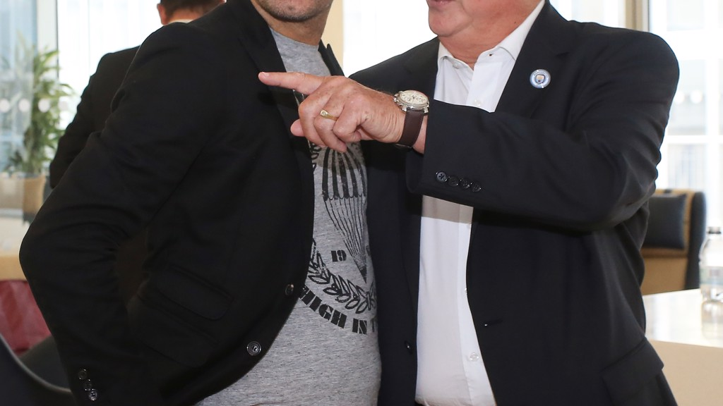 Club Ambassador Mike Summerbee shows new MCFC Manager Pep Guardiola around the First Team Building