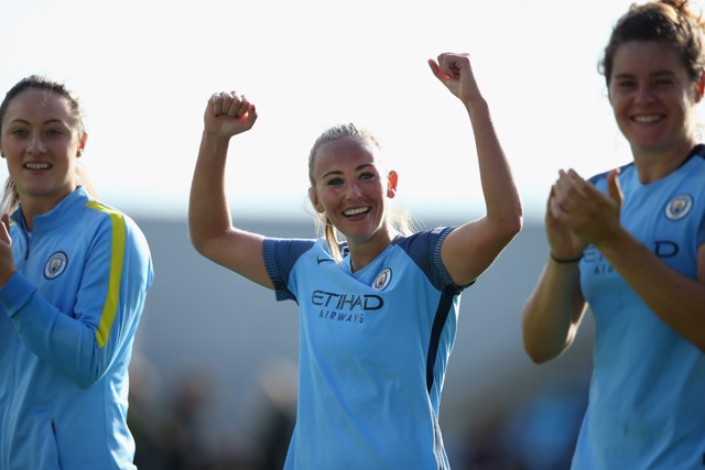 OVER THE MOON: Toni Duggan reacts to City winning the league title