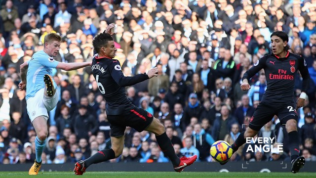 ON TARGET: Kevin De Bruyne strikes against Arsenal.
