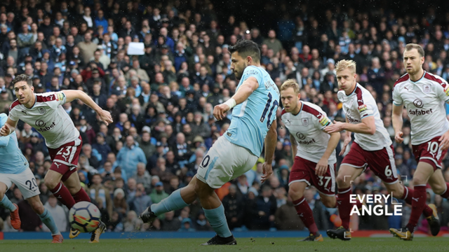 PENALTY SUCCESS: Sergio Aguero scores City's opening goal v Burnley to equal the club's goalscoring record.