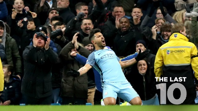 KUN-DERFUL: Sergio Aguero bagged the winner against Burnley in January 2017