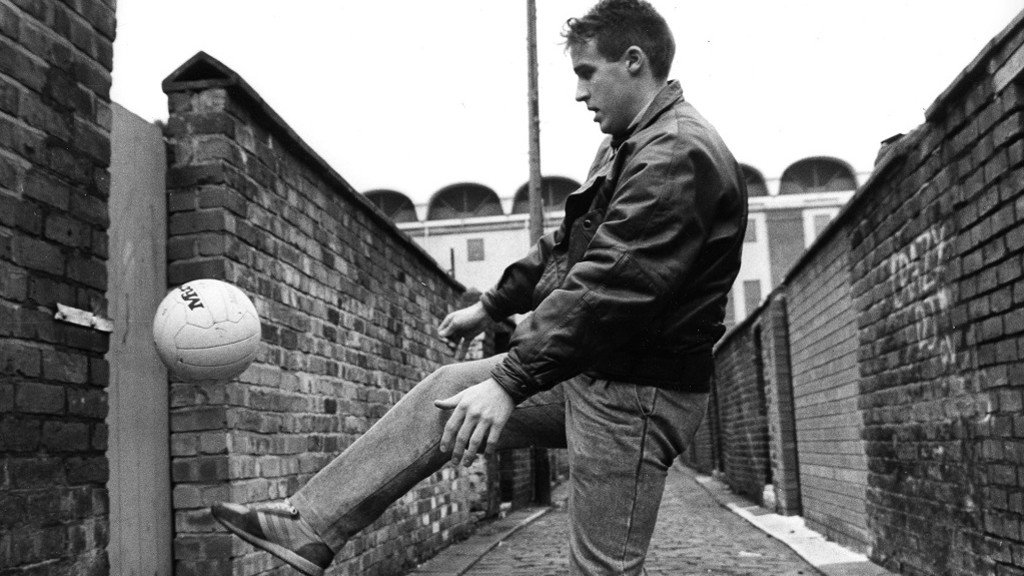 Back street boy: Moulden with Maine Road in the background