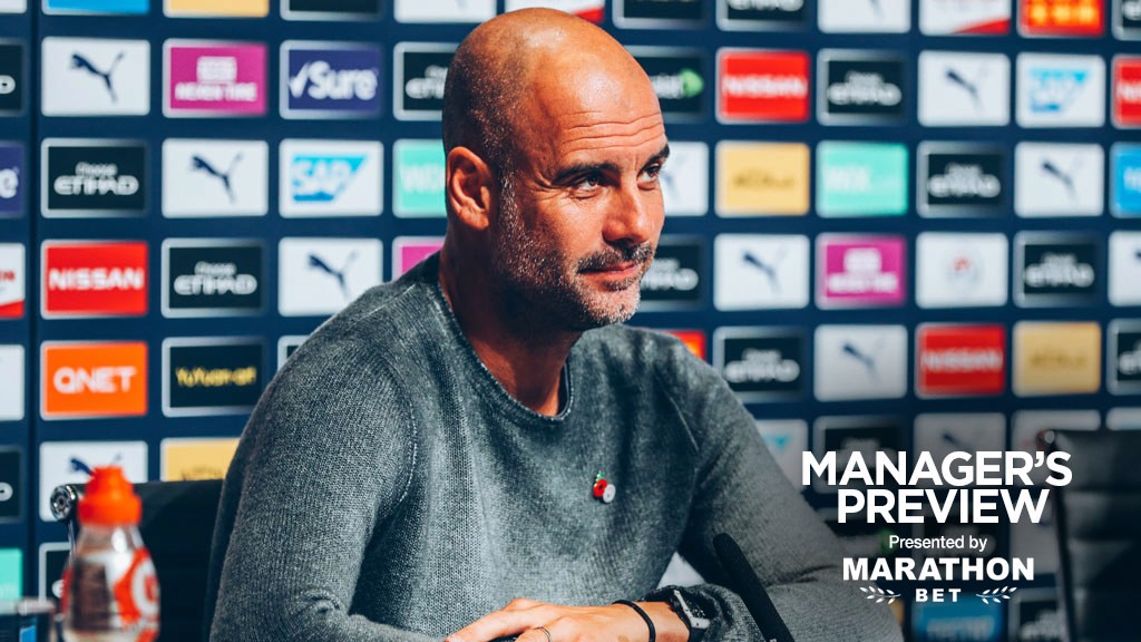 PEP TALK: The boss address journalists at his pre-match press conference.