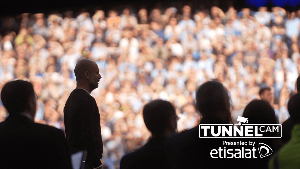 MATCHDAY: Pep Guardiola watches on against Spurs.