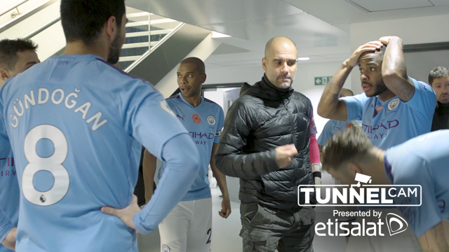 RALLYING CRY: Pep Guardiola motivates his players in the tunnel at half-time against Southampton.